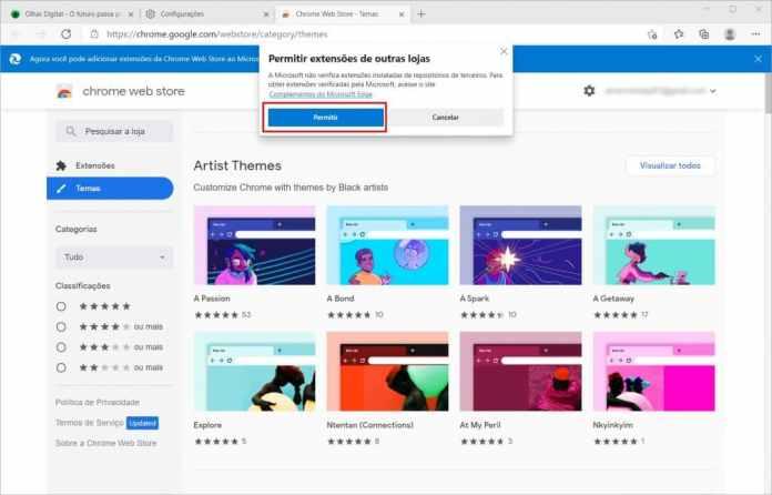 Como instalar um tema do Chrome no Microsoft Edge - Passo 6