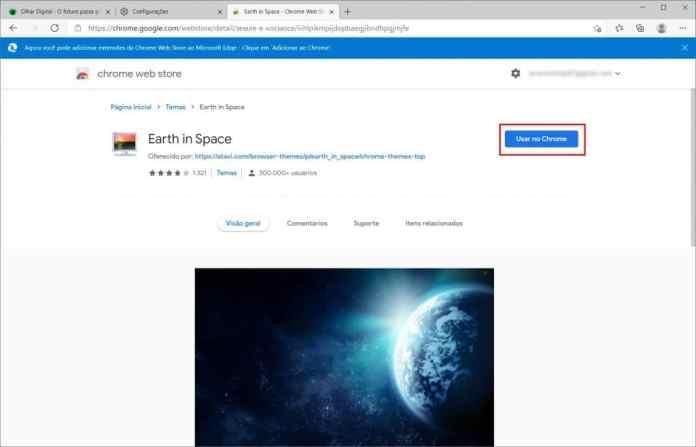 Como instalar um tema do Chrome no Microsoft Edge - Passo 7