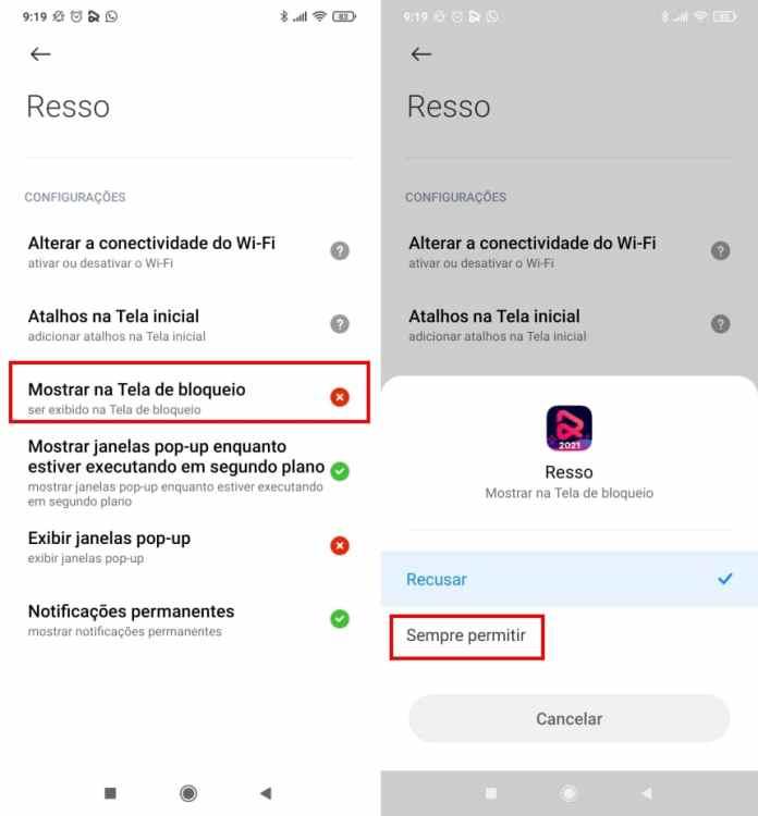 Como exibir a letra de músicas com o Resso na tela de bloqueio do Android - Passo 8