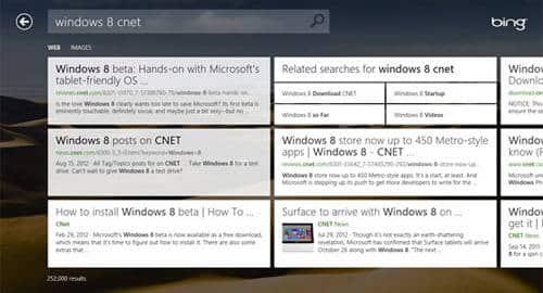 Bing no Windows 8