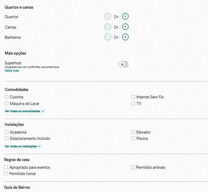 Como buscar acomodações no AirBnb? Use os filtros no site