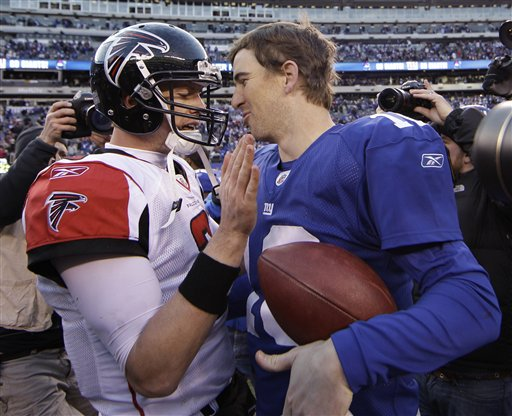Matt Ryan (Left) and Eli Manning (Right) chat after a game in 2012.