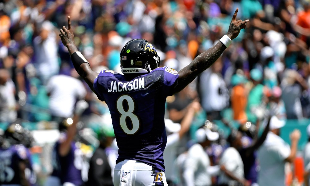 Ravens QB Lamar Jackson shredded the Dolphins defense last week for 324 passing yards and five passing touchdowns. He takes on the Cardinals this week.  Photo Credit: USA Today Sports
