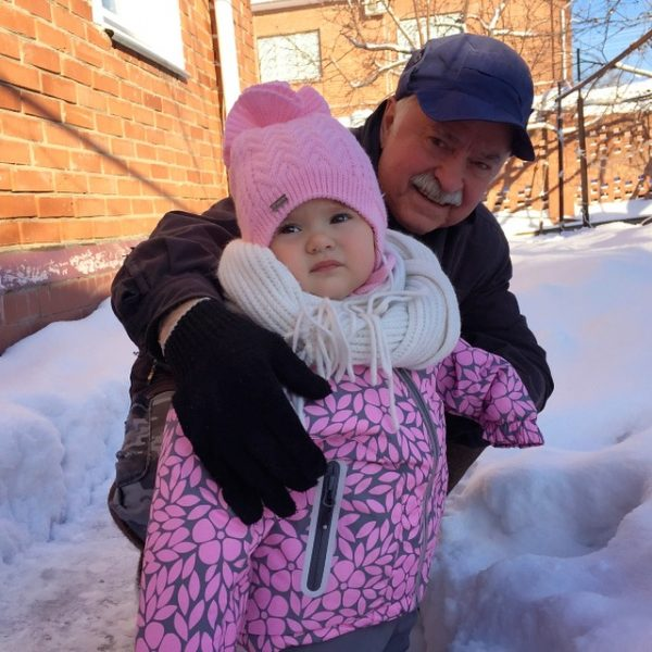 first winter snow experience with grandpa