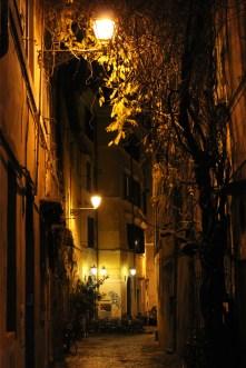 a Roman street by night