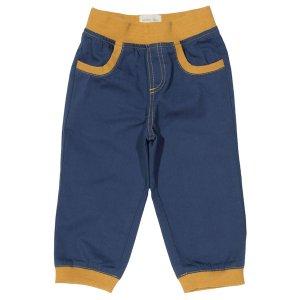 Blauwe broek van organisch katoen met gele details