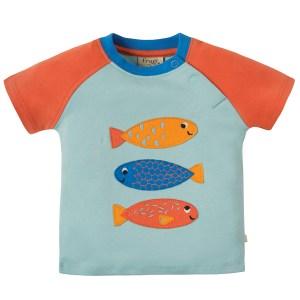 T-shirt van biokatoen met visjes