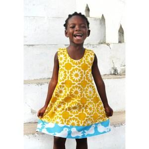 Omkeerbare jurk Afrikaanse batik mosterdgeel blauw