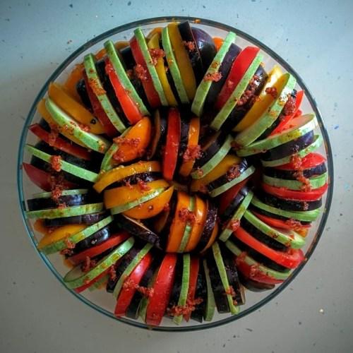 Dish with tomatoes, zucchini, eggplant