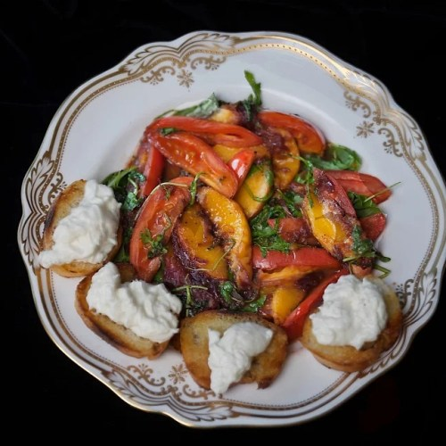 Peach and tomato salad with burrata