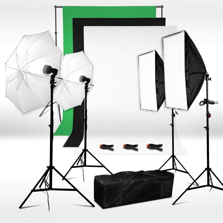 Kit de iluminación Neewer con 3 flashes y 3 fondos