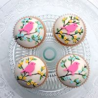 Domed Cupcakes With Spring Flowers And Birds