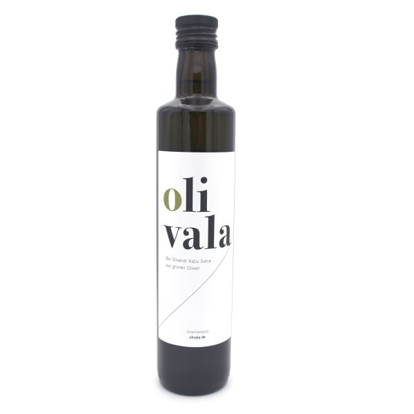 olivala fruchtiges Bio Olivenöl Extra Nativ, Kreta in der 0,5l Flasche.