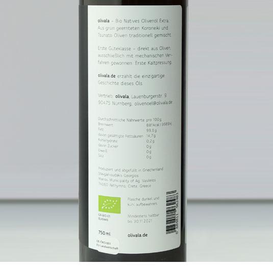 Rücketikett olivala Bio Olivenöl 0,75l