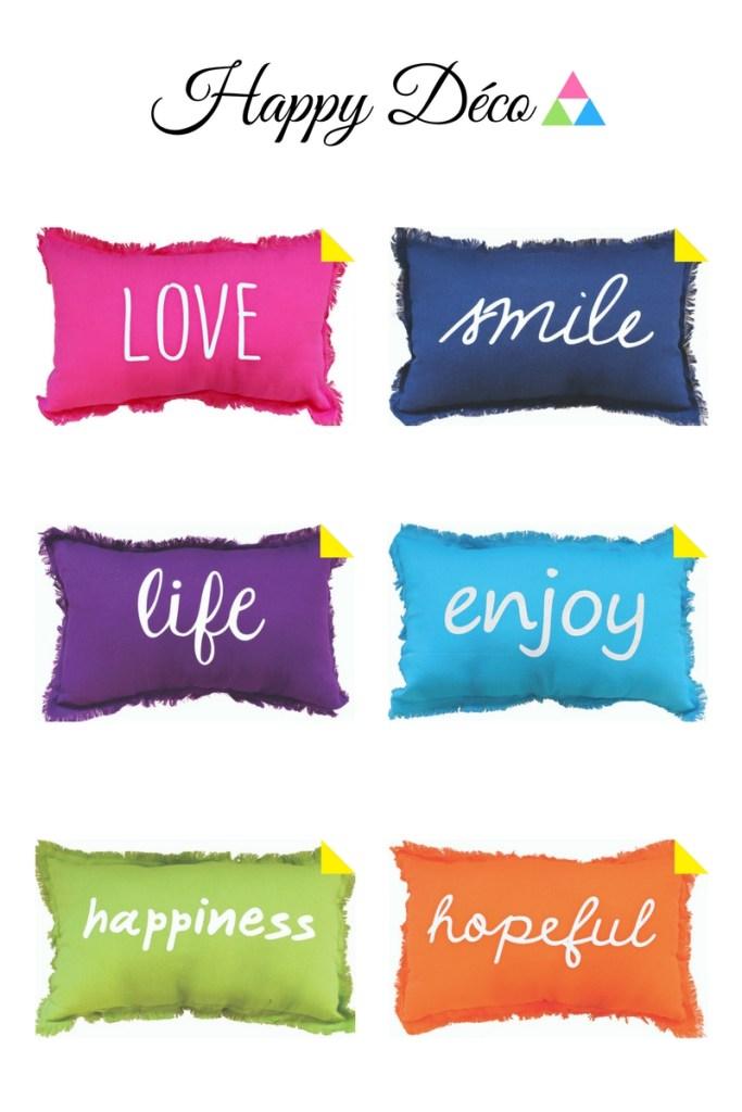 Coussins messages positifs Enjoy Home