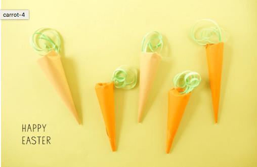 cornet carottes pour chocolats Paques