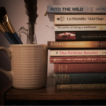books, mug, paintbrushes, bookshelf, vintage, vignette