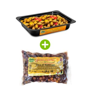 Olive-verdi-Schiacciate-Nocellara-Etnea-condite-vaschetta-1.5kg-e-olive-di-gaeta-dop-busta-1.5kg