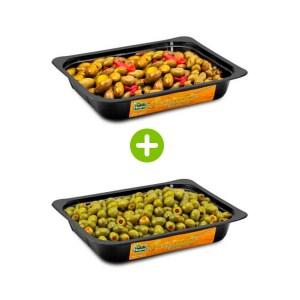 Olive-verdi-Schiacciate-Nocellara-Etnea-condite-vaschetta-1.5kg-e-olive-verdi-farcite-al-peperone-1.5kg