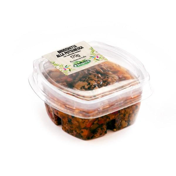 bruschetta di olive e capperi alla puttanesca