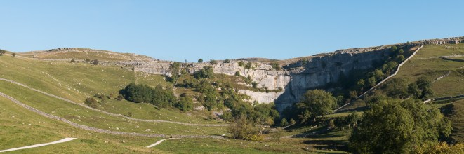 View of the Cove from the footpath from Malham. Photos taken at National Trust Malham Cove.