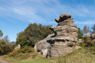 This rock formation is called The Dancing Bear. Photos of the rock formations at National Trust Brimham Rocks in North Yorkshire.