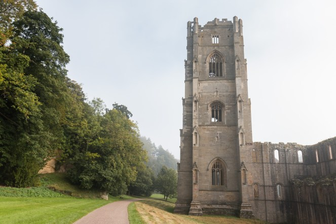 The tower of Fountains Abbey, named after abbot Huby who had it built to replace the abbey's original tower. Photos from National Trust Fountains Abbey and Studley Royal Water Garden, in North Yorkshire.