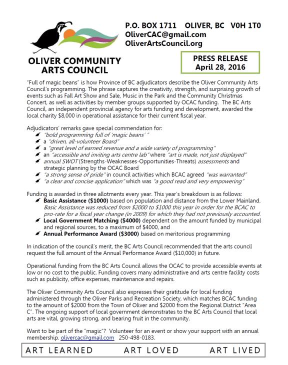 OCAC Press Release