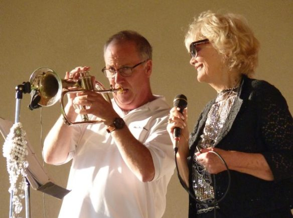 David Esler on trumpet, Iris Larratt enjoying the solo
