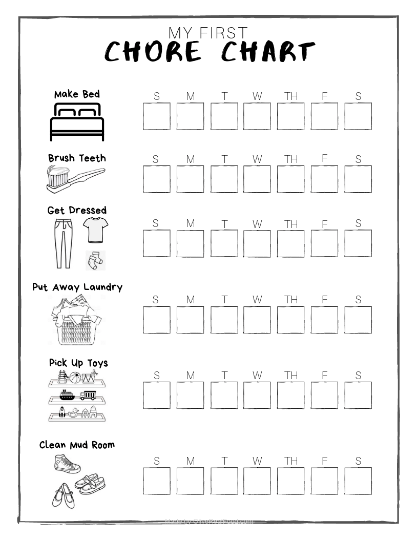 This is a graphic of Free Chore Chart Printable pertaining to customizable