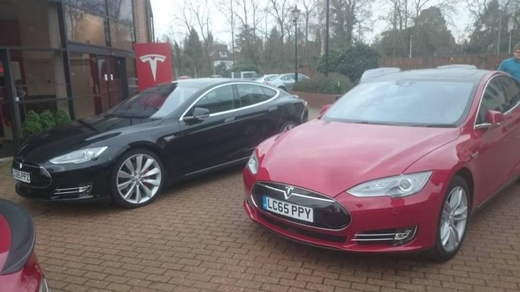 The one on the right is the Tesla I drove.