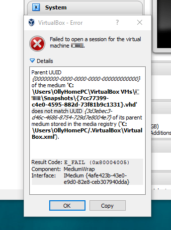Virtualbox VMs won't boot after taking a snapshotOliverMarshall net