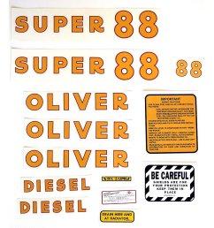 mylar decal set for oliver super 88 diesel  [ 1200 x 1200 Pixel ]