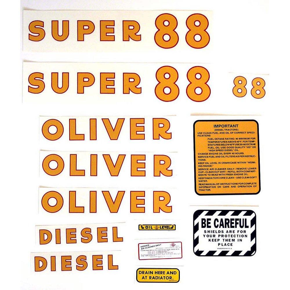 medium resolution of  mylar decal set for oliver super 88 diesel