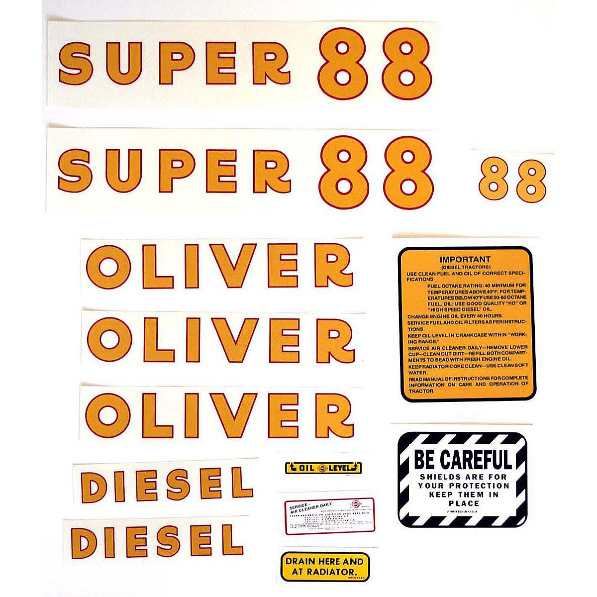 hight resolution of  mylar decal set for oliver super 88 diesel