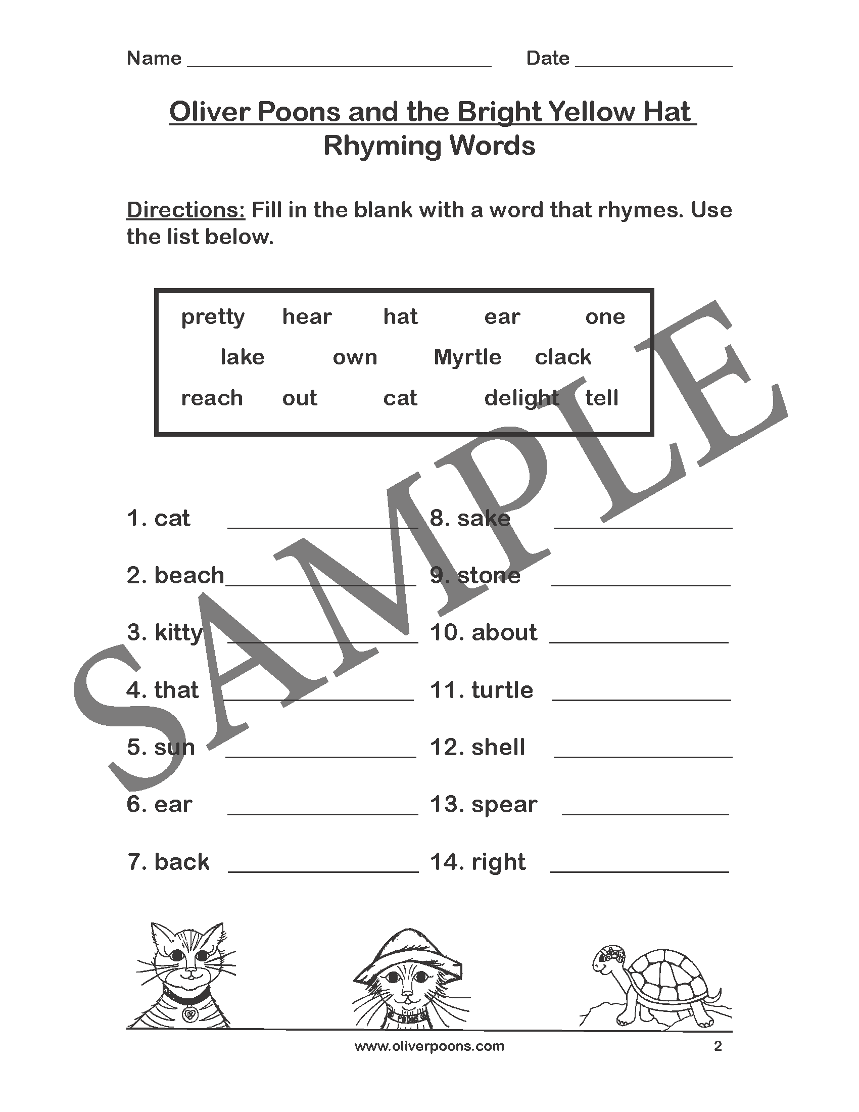 Rhyming Worksheet Year 2
