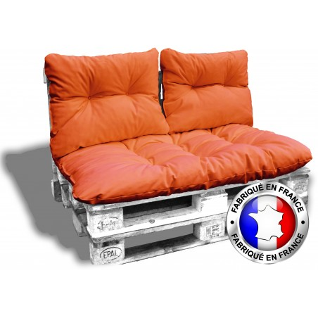 kit complet 3 coussins palette orange 1 assises 2 dossiers pour canape euro palettes 120x80 cm epaisseur 17 cm