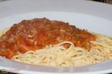 Spaghetti fresca mit Tomaten-Gorgonzola-Sauce
