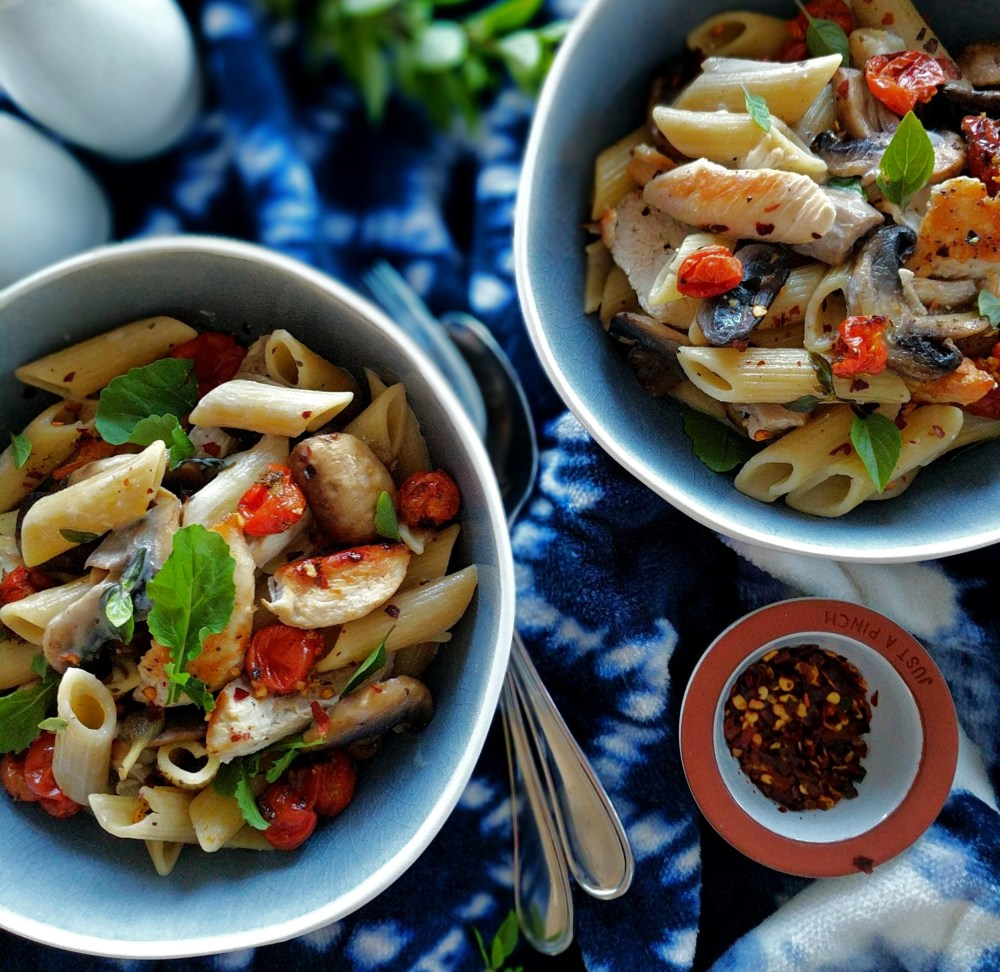 slow-roasted cherry tomato, mushroom and basil penne pasta