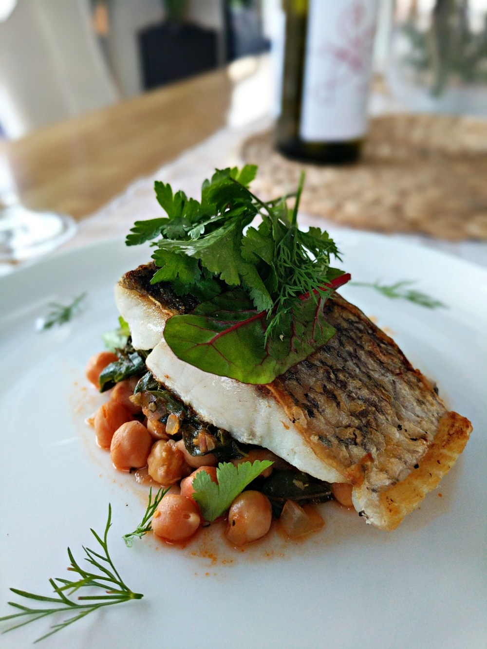 Pan-seared Snapper , chickpea, tomato and spinach stew