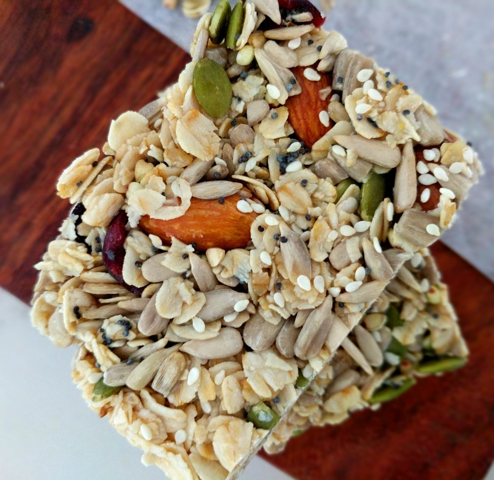 Healthy no-bake seed trail bar slice gluten-free