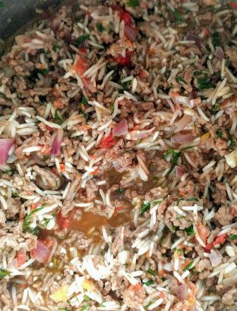 Ground Beef, Herbs, Basmati Rice ready to be rolled into Chard Rolls