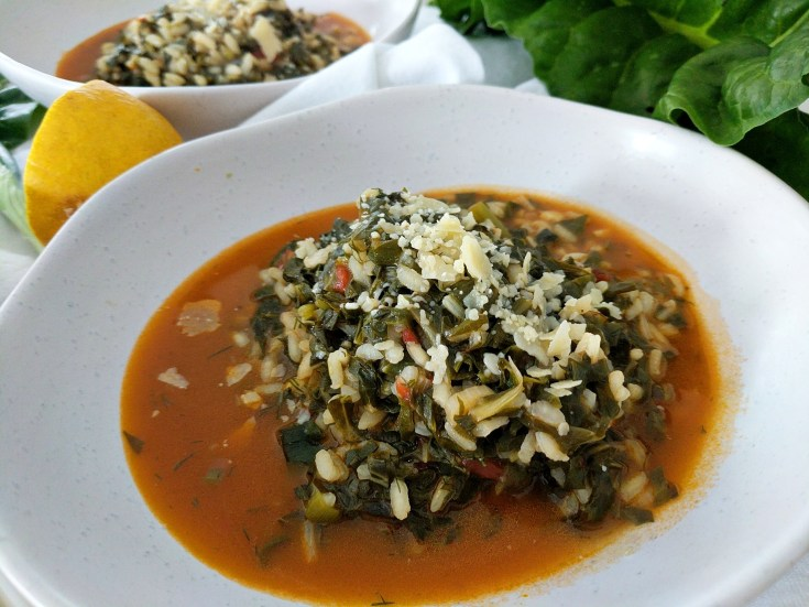 Spanakorizo Recipe with Tomato and Silverbeet, A greek Style Vegetarian Risotto, pilaf