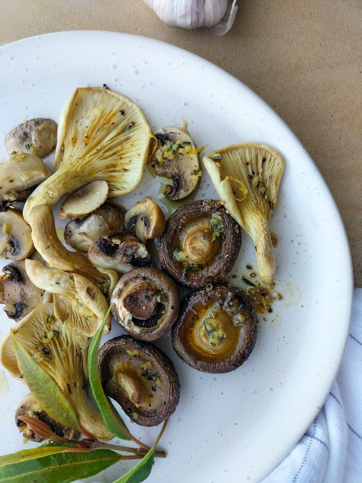 roasted mushrooms with lemon myrtle, garlic and rosemary butter