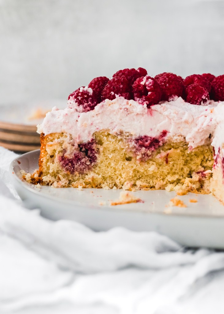 side shot of a raspberry semolina cake