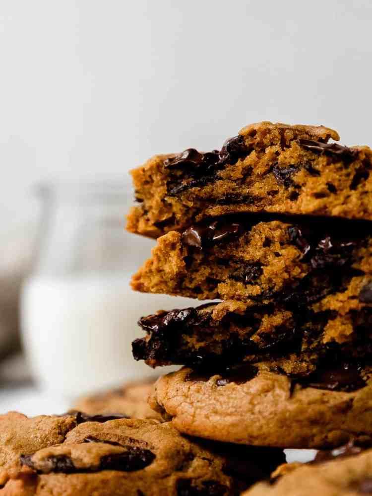 pumpkin tahini chocolate chip cookies