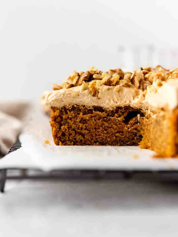 caramelized white chocolate buttercream pumpkin bars