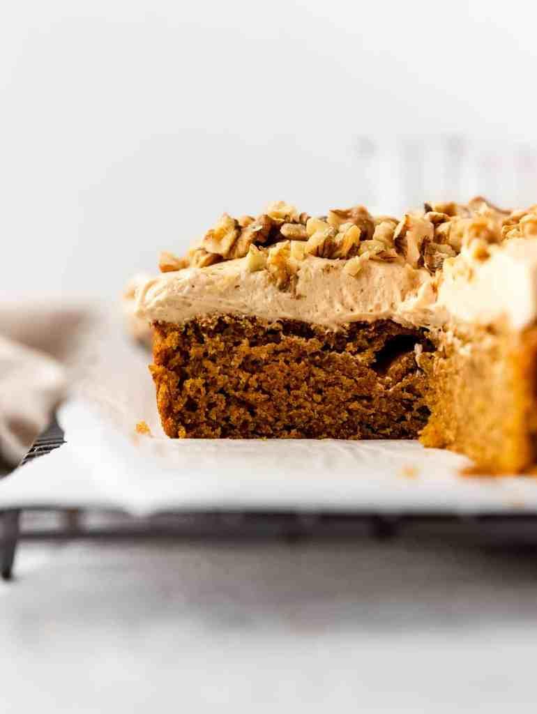 caramelized white chocolate buttercream pumpkin bars
