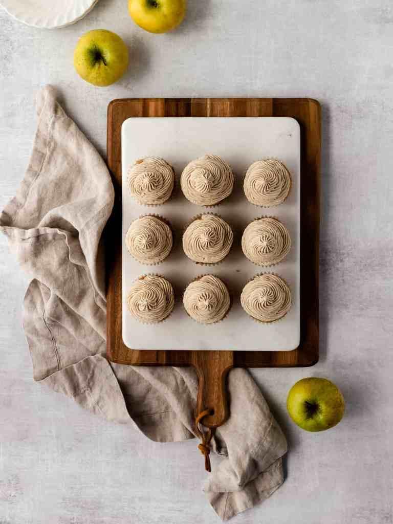 chai spice apple cupcakes with tahini buttercream