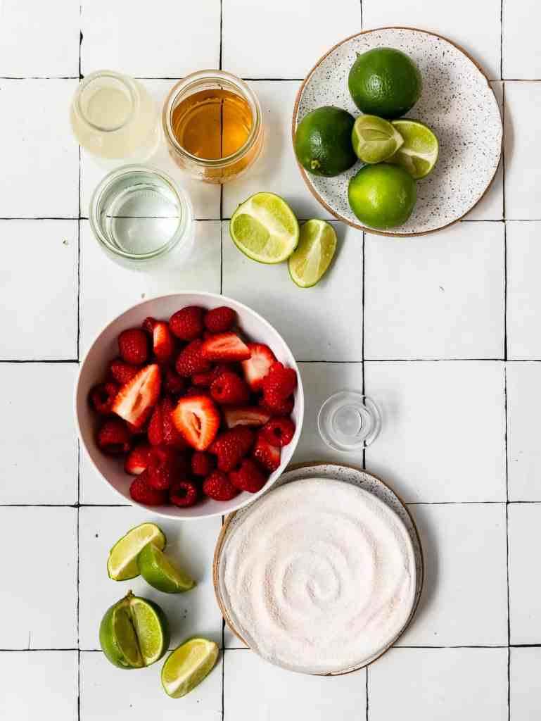 ingredients to make a summer berry margarita